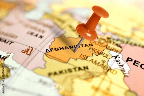 Plakat Location Afghanistan. Red pin on the map.