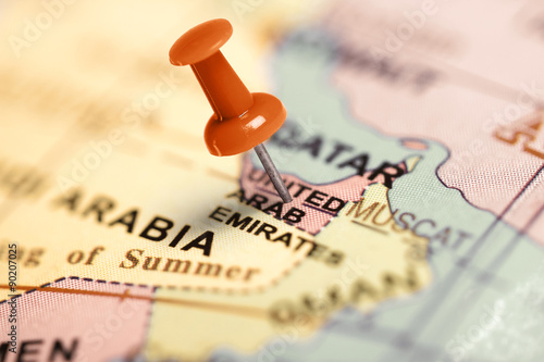 Fotobehang Midden Oosten Location United Arab Emirates. Red pin on the map.