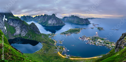 Panorama of  mountains and  Reine in Lofoten islands, Norway Canvas Print
