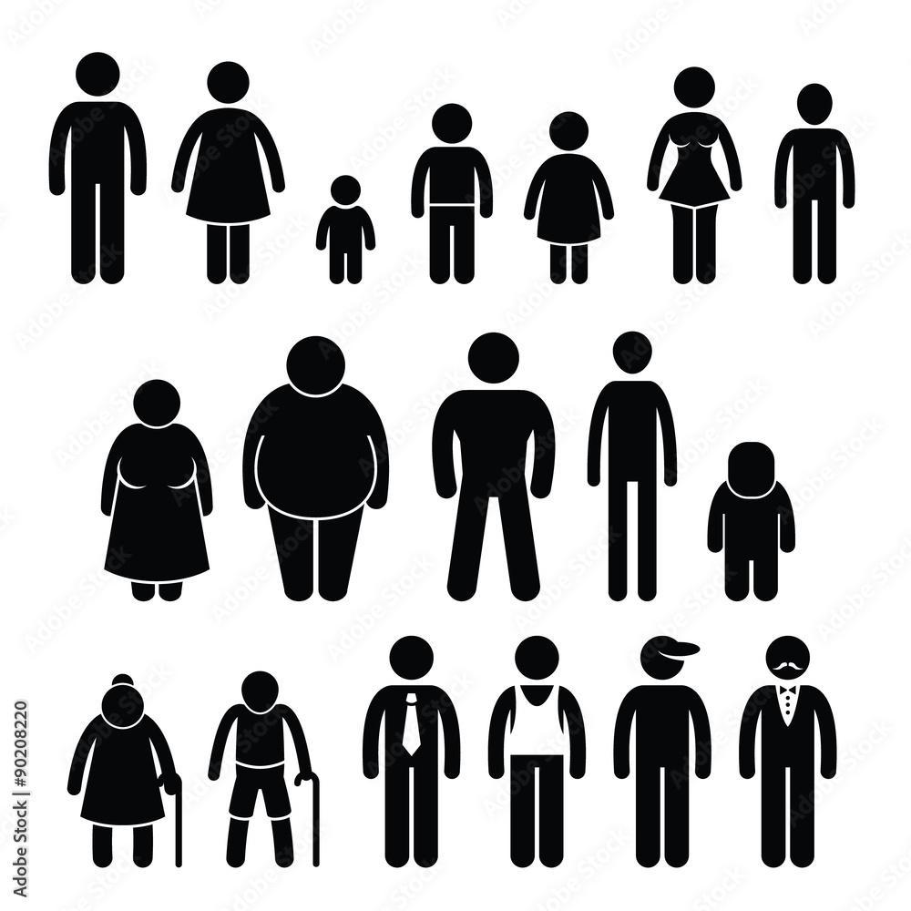 Menschen Charakter Mann Frau Kinder Alter Größe Strichmännchen