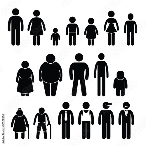 Fotografia  People Character Man Woman Children Age Size Stick Figure Pictogram Icons