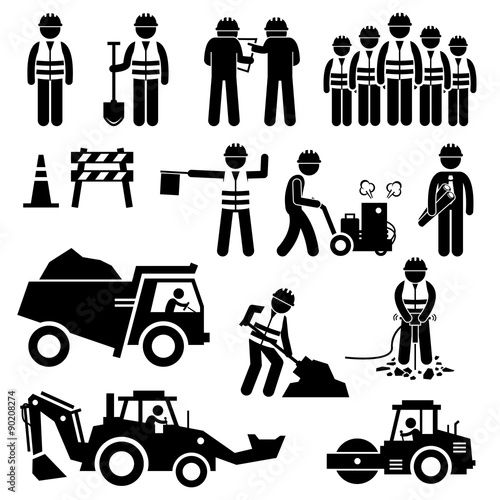 Fotografia  Road Construction Worker Stick Figure Pictogram Icons