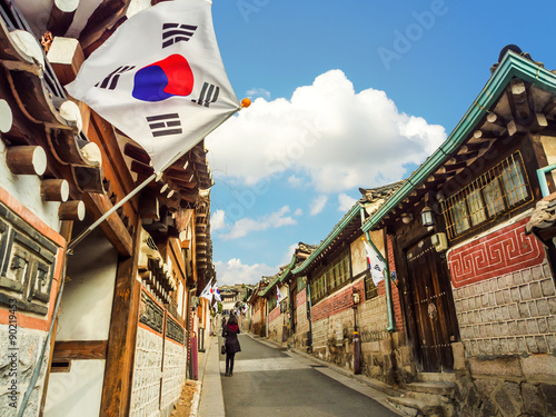 Photo  Bukchon Hanok Village in Seoul, South Korea.