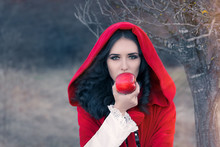 Red Hooded Woman Holding Apple...