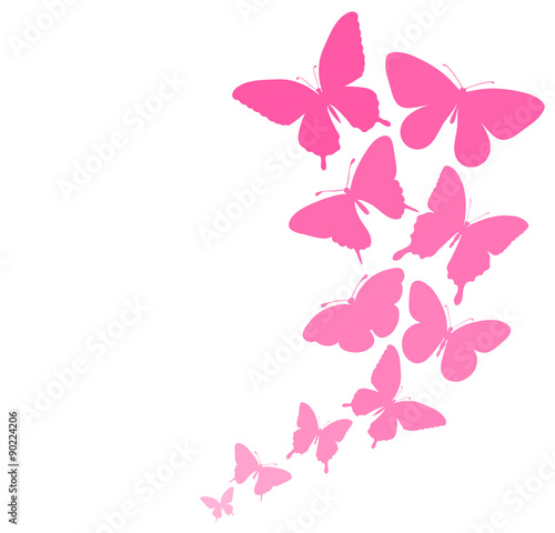 Canvas Prints Butterflies in Grunge background with a border of butterflies flying.