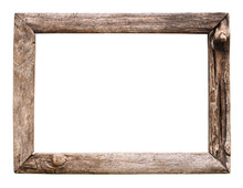 Old Wood Picture Frame Isolate...