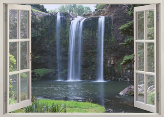 Fototapeta Open window view to Whangarei Falls, Northland Region (North Island), New Zealand
