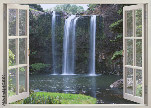 Open window view to Whangarei Falls, Northland Region (North Island), New Zealand - 90225270