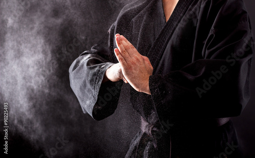Closeup of male karate fighter hands. Wallpaper Mural