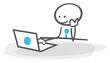 stickman table laptop internet