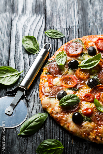 Pizza with salami, olives and basil Canvas Print