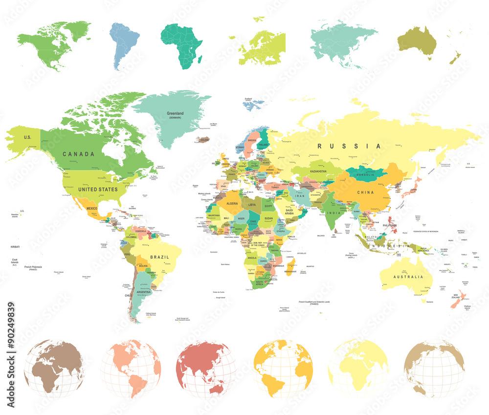 Mapa świata i globusy - bardzo szczegółowe ilustracji wektorowych.