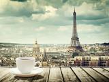 Fototapeta Fototapety z wieżą Eiffla - background with cup of coffee and Eiffel tower in Paris