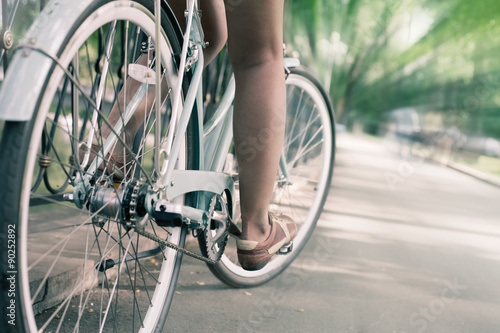 Tuinposter Fiets blue vintage city bicycle, concept for activity and healthy lifestyle