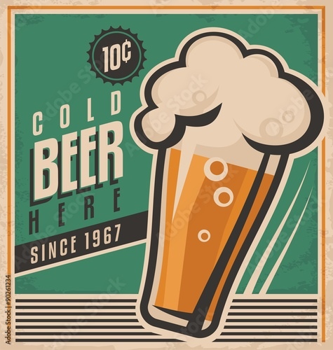 Fotografering  Vintage poster template for cold beer