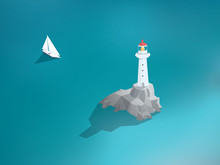 Lighthouse In Ocean. Low Poly Design Building. Sea Scenery With