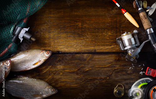 Stampa su Tela art sports fishing rod and tackle background