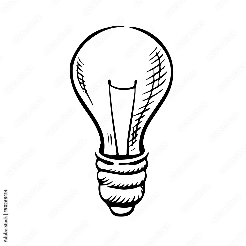 Sketch Of Light Bulb Icon Foto Poster Wandbilder Bei Europosters