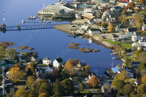 City on the water Aerial view of Boothbay Harbor on Maine coastline