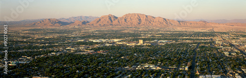 Panoramic view of Las Vegas Nevada Gambling City at sunset