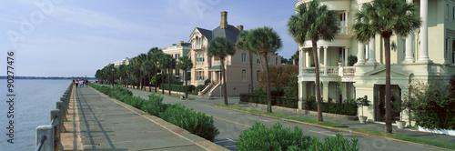 Canvastavla Atlantic Ocean with historic homes of Charleston, SC