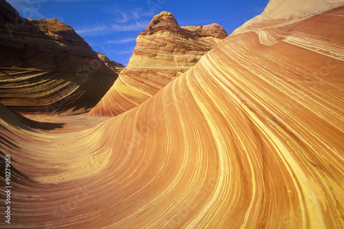Foto  Close up of sandstone stripes, 'The Wave' on Kenab Coyote Butte, BLM, Slot Canyo