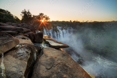 Waterfall sunrise Kalandula Wallpaper Mural