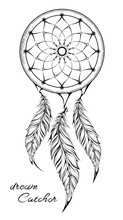 Dream Catcher Isolated On White Background. Amulet. Vector Illustration