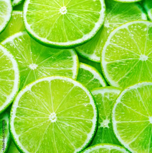 Fotografie, Obraz  close up of lime slices background