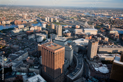 Photo  AERIAL morning view of downtown Boston and Leonard P