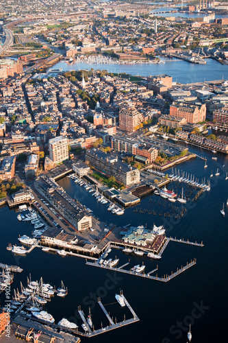 Photo  AERIAL morning view of harbor of Boston, MA.