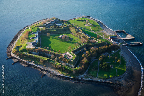 Fotografie, Tablou  AERIAL VIEW of Fort Warren, a historic Civil War fort used as a prison, Boston Harbor, MA