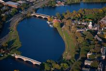 AERIAL VIEW Of Charles River With Views Of John W. Weeks Bridge And Anderson Memorial Bridge, Harvard, Cambridge, Boston, MA.