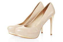 High Heel Beige Shoes Pair Isolated On White, Clipping Path