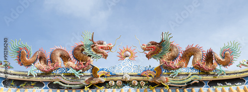 Photo  China Dragon, Chinese temple in Thailand.