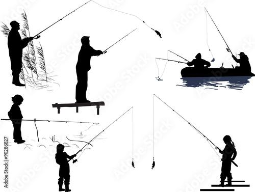 Obraz na plátne seven fishermen silhouettes isolated on white