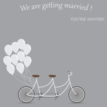 Invitation Card For The Wedding. Tandem Bike For Two. Balloons As Decoration