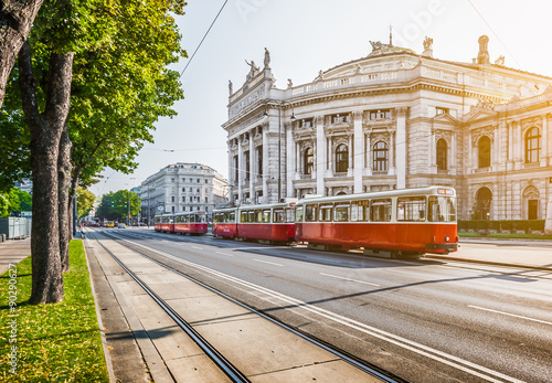 Garden Poster Vienna Wiener Ringstrasse with Burgtheater and tram at sunrise, Vienna, Austria