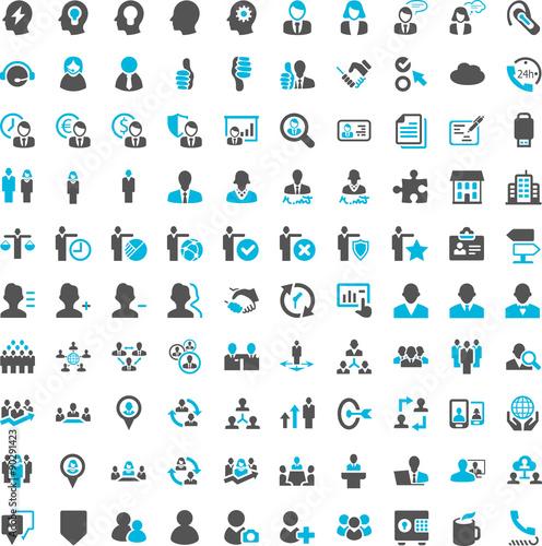 People Work Business Iconset blue Fototapete