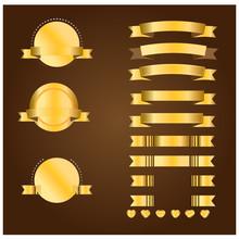 Gold Banner And Ribbon Vector