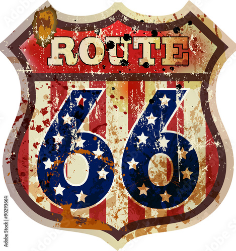 route 66 road sign, fictional design, retro style, vector Poster