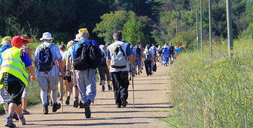 Fototapeta pèlerinage marcheurs groupe
