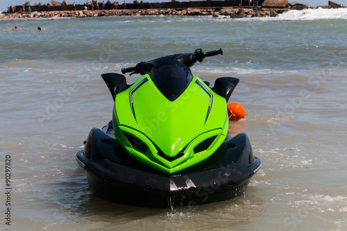 Spoed Foto op Canvas Water Motor sporten jet ski on the beach