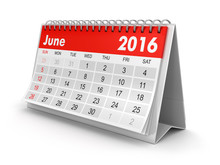 Calendar -  June 2016  (clipping Path Included)