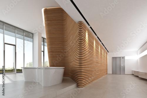 Fotografie, Obraz  Foyer mit Wandskulptur Holz