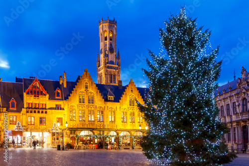 Poster Brugge Bruges. Burg Square with the Christmas tree at Christmas.
