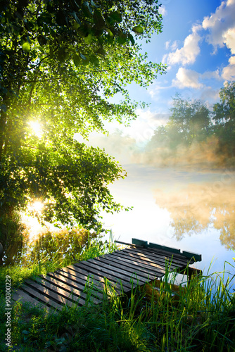 Poster de jardin Beige Fishing pier on river