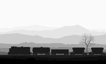 Train With Freight Wagons Over Huge Mountains.