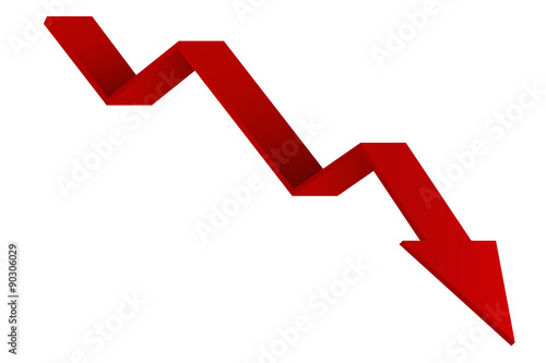 Red Indication arrows. Down arrows, statistic financial graphic. Fototapeta