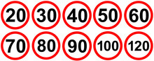 Speed Limit Road Traffic Signs